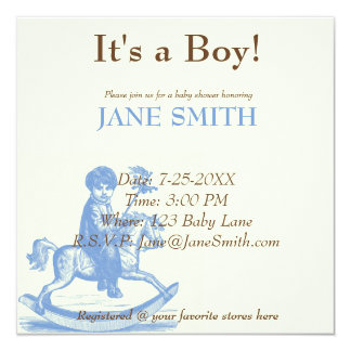 Little Boy on Rocking Horse Antique Theme Card