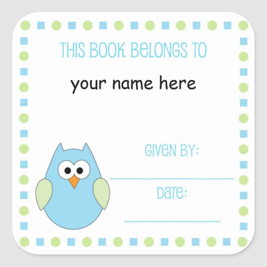 Little boy owl Bookplate label for baby showers