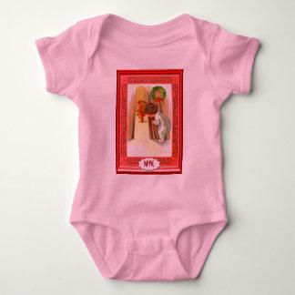 Little boy peeping at Santa: ADD NAME Baby Bodysuit