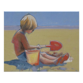 Little boy playing in the sand with a shovel poster