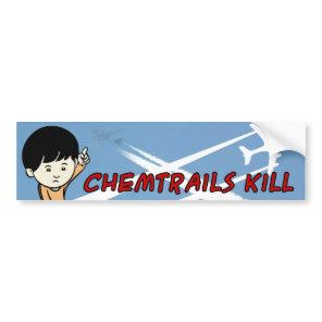 Little Boy pointing up Chemtrails Kill Bumper Sticker