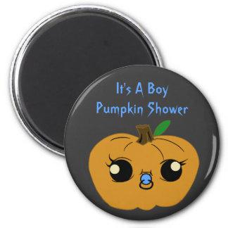 Little Boy Pumpkin Baby Shower Fridge Magnets
