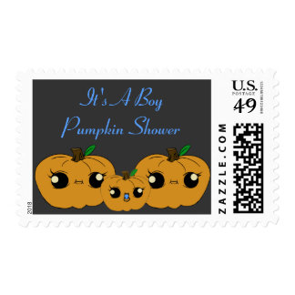 Little Boy Pumpkin Baby Shower Postal Stamps