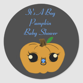 Little Boy Pumpkin Baby Shower Stickers