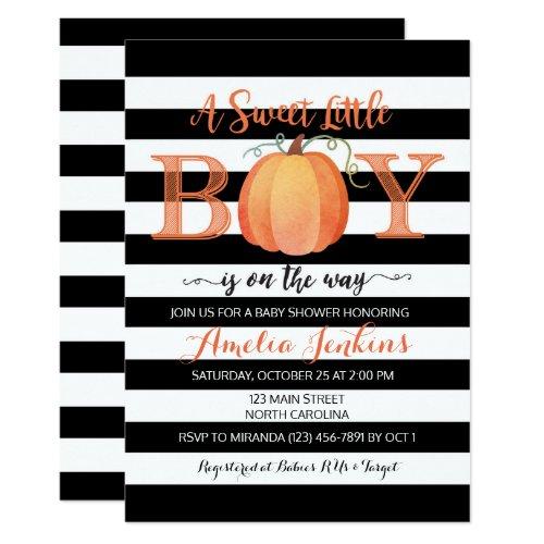 Little Boy Pumpkin Fall Baby Shower Invitation