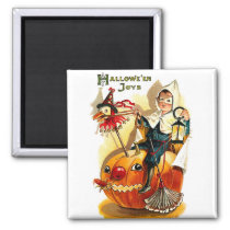 Little boy riding a pumpkin on Halloween night Magnet