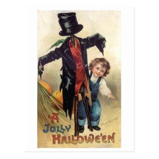 Little Boy & Scarecrow Vintage Halloween Postcard