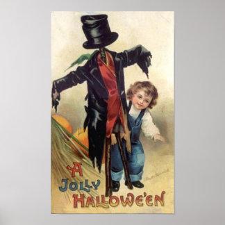 Little Boy Scarecrow Vintage Halloween Posters