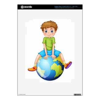 Little boy sitting on blue planet decal for iPad 3