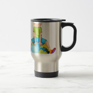 Little boy sitting on blue planet travel mug