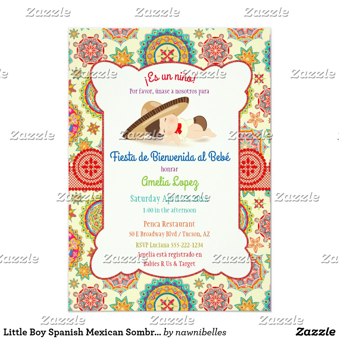 Little Boy Spanish Mexican Sombrero Baby Shower Card
