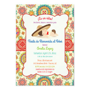 Spanish invitations zazzle little boy spanish mexican sombrero baby shower invitation stopboris