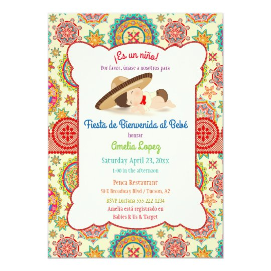 Little Boy Spanish Mexican Sombrero Baby Shower Invitation  7a3ea0dd589