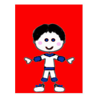 Little Boy Stick Family Collection Postcard