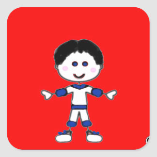 Little Boy Stick Family Collection Square Sticker