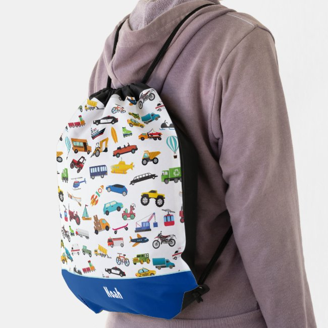 Little Boy Things That Move Vehicle Cars Kid Drawstring Bag