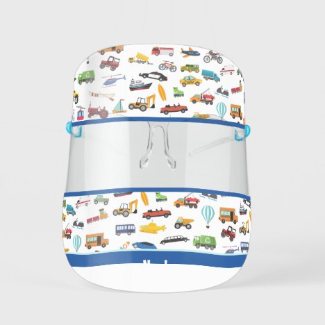 Little Boy Things That Move Vehicle Cars Pattern Kids' Face Shield