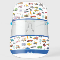 Little Boy Things That Move Vehicle Pattern Face Shield
