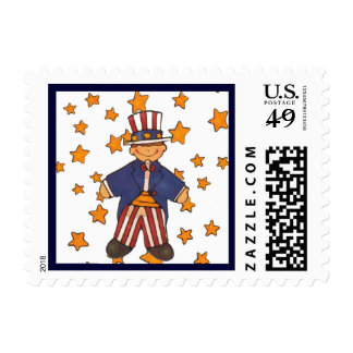 Little Boy Uncle Sam and Stars USA Pride 4th of Ju Postage
