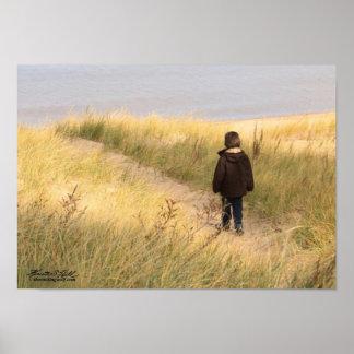 Little Boy Walking on the Beach Poster
