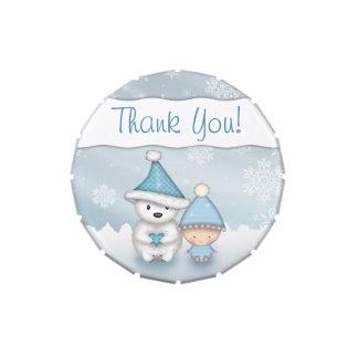 Little Boy Winter Baby Shower Favor Candy Tins