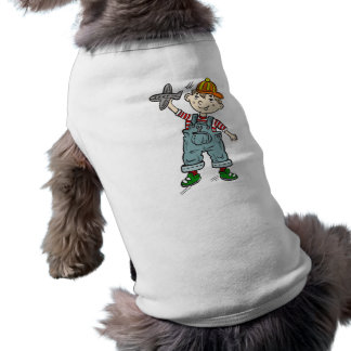 Little Boy With Airplane Dog T-shirt