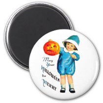 Little boy with carved pumpkin, Halloween greeting Magnet