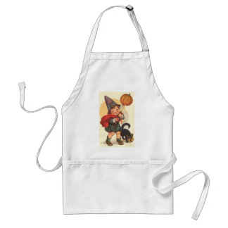 Little Boy with Cat and Pumpkin Adult Apron