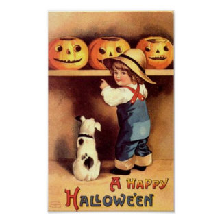 Little Boy with Dog and Pumpkins Poster