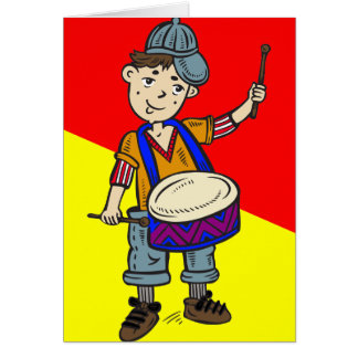Little Boy With Drums Card