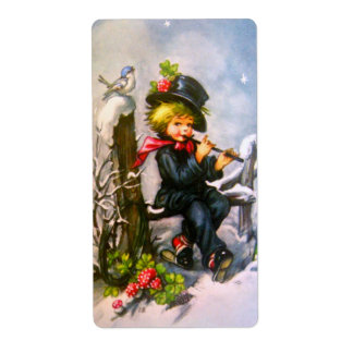 Little Boy with Flute Personalized Shipping Label