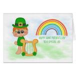 Little Boy with Harp, Rainbow, Saint Patrick's Day Card