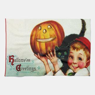 Little Boy With His Black Cat & Jack O' Lantern Hand Towel