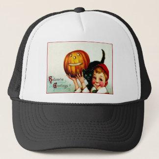 Little Boy With His Black Cat & Jack O' Lantern Trucker Hat