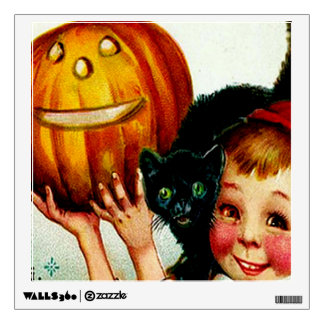 Little Boy With His Black Cat & Jack O' Lantern Wall Sticker