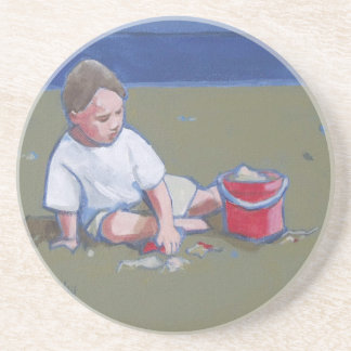 Little Boy with Sandcastle and Beach Bucket Sandstone Coaster