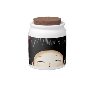 Little boy with space background candy jar