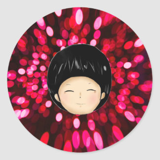 Little boy with space background classic round sticker