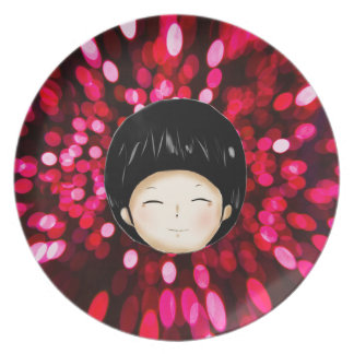 Little boy with space background dinner plate