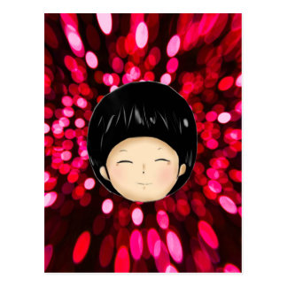 Little boy with space background postcard