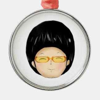 Little boy with sunglass metal ornament