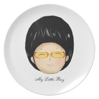 Little boy with sunglass party plate