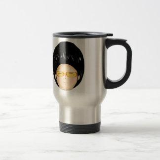Little boy with sunglass travel mug