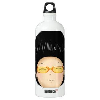 Little boy with sunglass water bottle