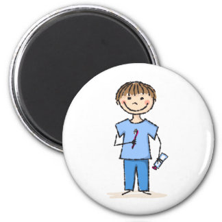 Little boy with toothbrush 2 inch round magnet