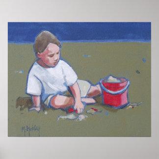 Little Boy y castillo de arena en la playa Impresiones