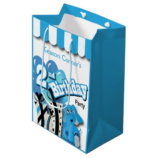 Little Boy's 2nd Blue Elephant Birthday Medium Gift Bag