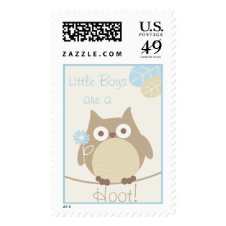 Little Boys Are a Hoot Owl Baby Shower Postage