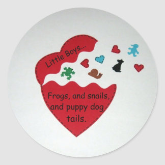 Little Boys... Classic Round Sticker