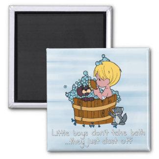 Little boys don't take bath.. 2 inch square magnet